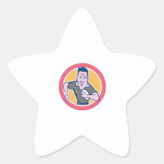 Rugby Player Running Charging Circle Cartoon Star Sticker