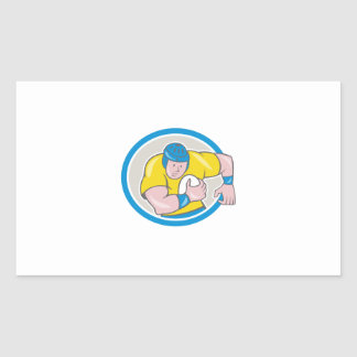 Rugby Player Running Charging Circle Cartoon Sticker
