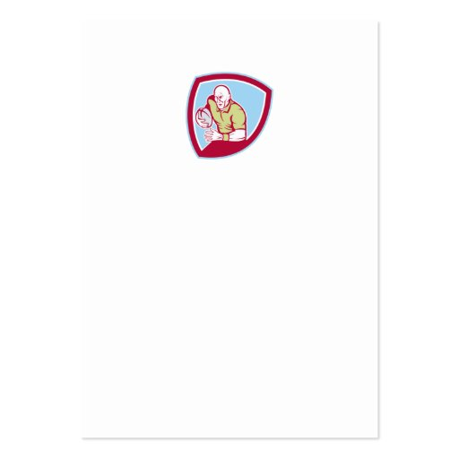 Rugby Player Running Charging Shield Cartoon Business Cards