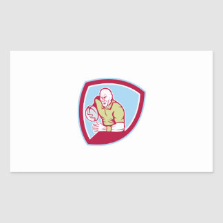 Rugby Player Running Charging Shield Cartoon Rectangular Stickers