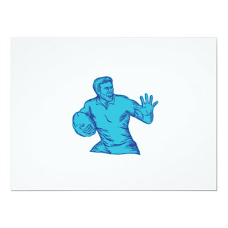 Rugby Player Running Fending Etching 6.5x8.75 Paper Invitation Card