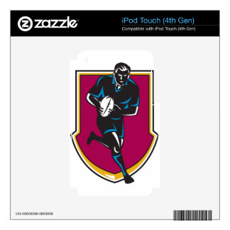 rugby player running passing ball retro iPod touch 4G decal