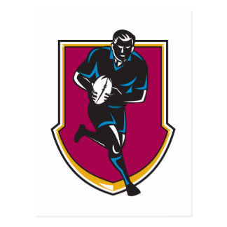 rugby player running passing ball retro postcard