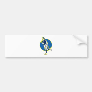 rugby player running passing ball retro style bumper sticker