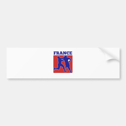 rugby player running tackling france bumper sticker