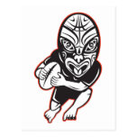 Rugby player running wearing Maori mask Post Cards