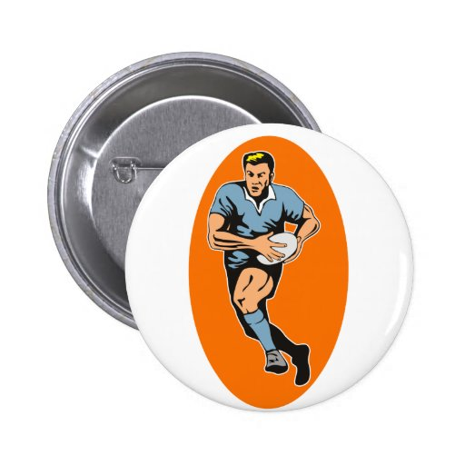 rugby player running with ball 2 inch round button