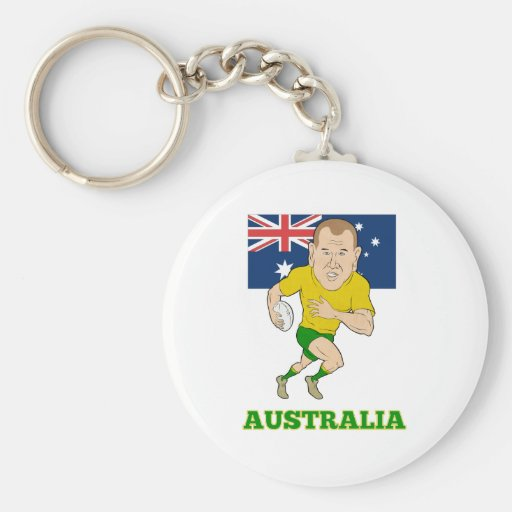 Rugby player running with ball Australia flag Key Chain