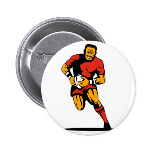 rugby player running with ball pinback buttons