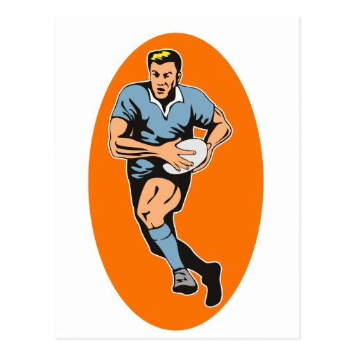 rugby player running with ball post card