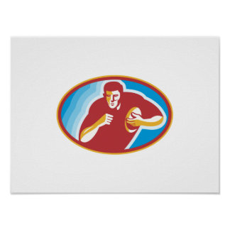 Rugby Player Running With Ball Poster