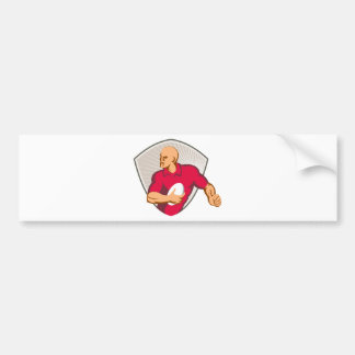 Rugby Player Running With Ball Retro Car Bumper Sticker