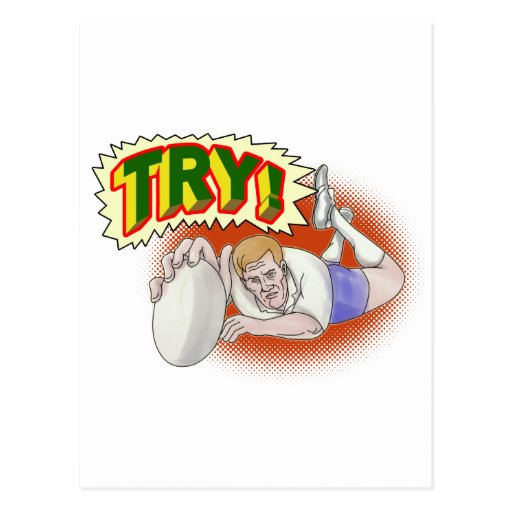 rugby player scoring a try postcard