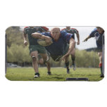 Rugby player scoring jumping on groud with ball iPod touch case