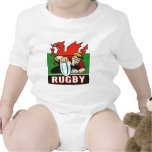 Rugby player scoring try wales flag baby bodysuits