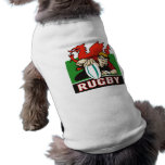 Rugby player scoring try wales flag pet shirt