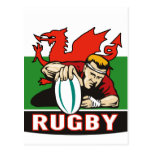 Rugby player scoring try wales flag post card