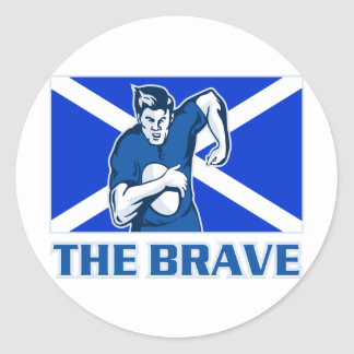 rugby player scotland flag the brave classic round sticker