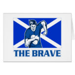 rugby player scotland flag the brave greeting card