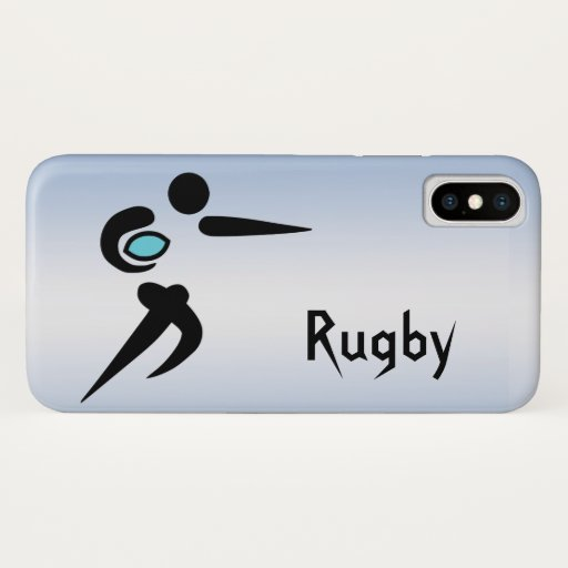 Rugby Player Scrum Ball  Blue iPhone X Case