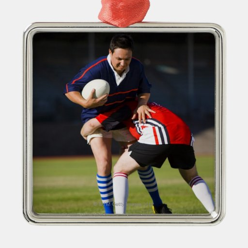 Rugby player tackling another square metal christmas ornament