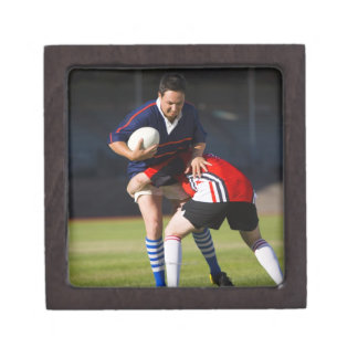 Rugby player tackling another premium jewelry boxes