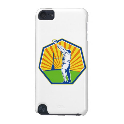 Rugby Player Throwing Lineout Ball Retro iPod Touch (5th Generation) Cover