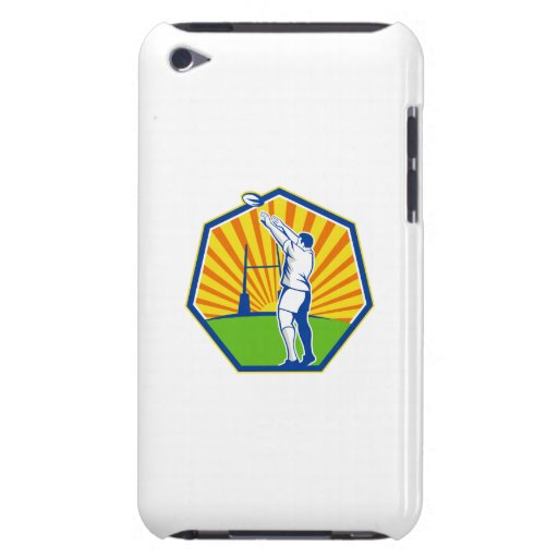 Rugby Player Throwing Lineout Ball Retro iPod Touch Cover
