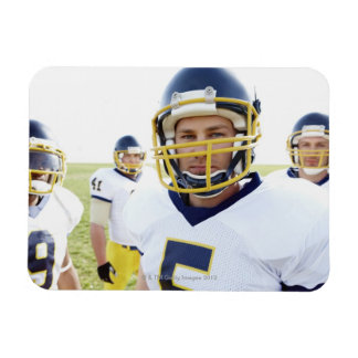 rugby player wearing helmet and standing rectangular photo magnet