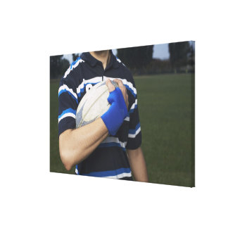 Rugby player with ball canvas print