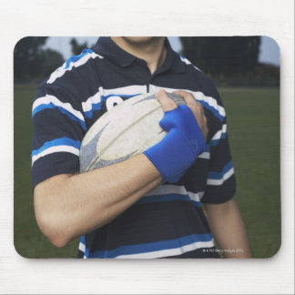 Rugby player with ball mouse pad