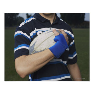 Rugby player with ball poster