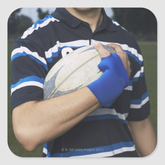 Rugby player with ball square sticker