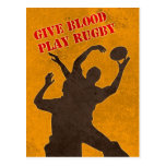 rugby players catching lineout throw postcard