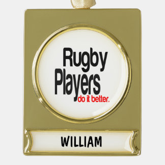 Rugby Players Extraordinaire Gold Plated Banner Ornament
