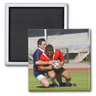 Rugby players fighting for ball 2 inch square magnet