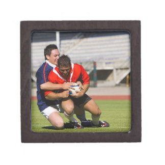 Rugby players fighting for ball premium trinket box