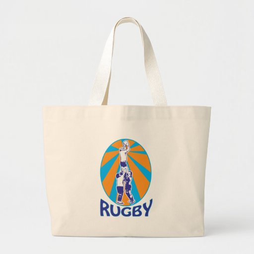 rugby players jumping catching line-out ball retro bag