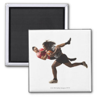 Rugby players tackling for ball 2 inch square magnet