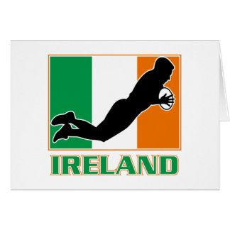 rugby playing diving try ireland flag greeting card