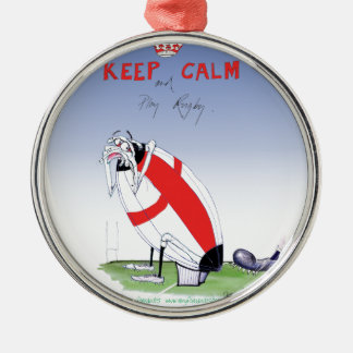 rugby - putting the boot in, tony fernandes metal ornament