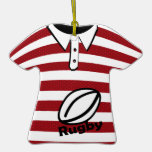 Rugby Red Striped Photo Christmas Tree Ornament