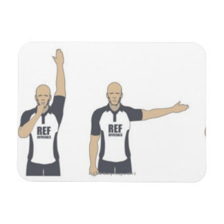 Rugby referee signalling penalty kick, free magnets