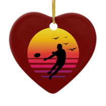 rugby retro sunset, #rugby ceramic ornament