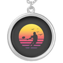rugby retro sunset, #rugby silver plated necklace