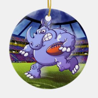 Rugby Rhinoceros Ceramic Ornament