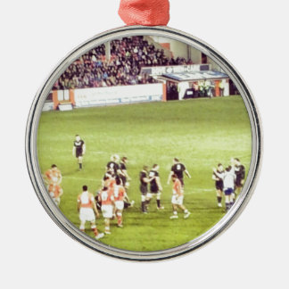 Rugby Round Metal Christmas Ornament