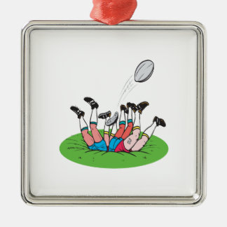 Rugby Scrum Square Metal Christmas Ornament