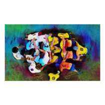 Rugby Scrum - Watercolour Art Print