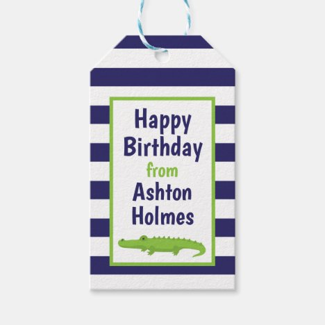 Rugby Stripes Alligator Personalized Gift Tags